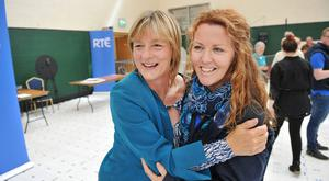 Celebrations: The Green Party's Grace O'Sullivan with supporter Joanne Galvin in Nemo, Co Cork. Photo: Provision