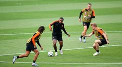 Netherland's Steven Bergwijn (centre) during the walk around at the Estadio D. Afonso Henriques, Guimaraes. Photo: Tim Goode/PA Wire