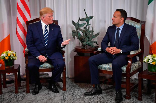 Leo Varadkar and Donald Trump speak to the press at Shannon Airport.