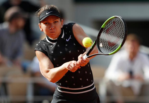 Romania's Simona Halep in action. Pic: Reuters