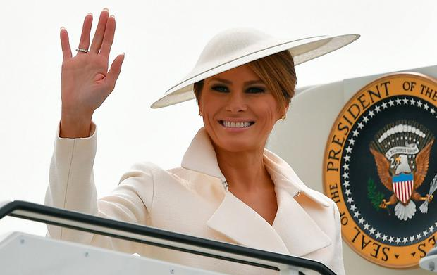 Miles of style: Melania in Southampton en route to Shannon. Picture: AFP