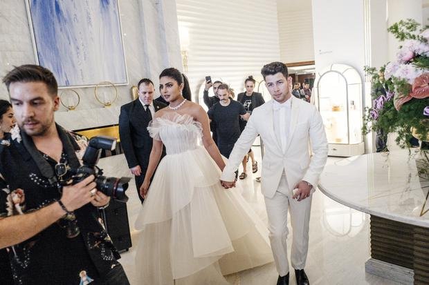 Priyanka Chopra and Nick Jonas at the Martinez Hotel during the 72nd annual Cannes Film Festival on May 18, 2019 in Cannes, France. (Photo by Gareth Cattermole/Getty Images)
