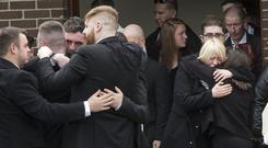 The funeral of Hit and Run Victim Gerard Whyte at The Church of The Virgin Mary, BAllymun today. PIC COLIN O'RIORDAN
