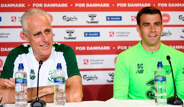 Ireland manager Mick McCarthy, left, and Seamus Coleman are pictured during an Ireland press conference at Telia Parken in Copenhagen, Denmark. Photo: Stephen McCarthy/Sportsfile