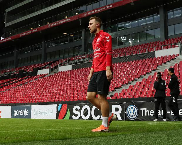 Denmark's Christian Eriksen during training today at Telia Parken, Copenhagen. Photo: Reuters/Lee Smith