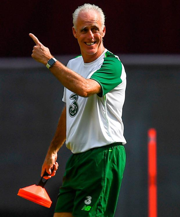 Ireland manager Mick McCarthy is pictured during a training session at Telia Parken in Copenhagen, Denmark. Photo: Stephen McCarthy/Sportsfile
