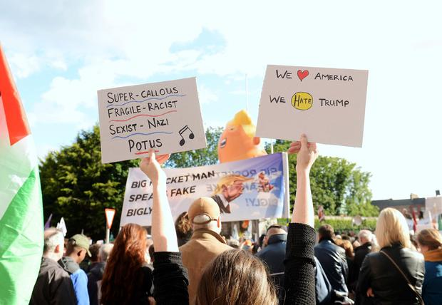 General view of protesters against the visit of USA president Donald Trump to Ireland. Garden of Remembrance, Parnell Square, Dublin. Picture: Caroline Quinn