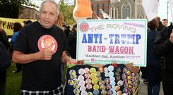 Stan Simberg, from New York, who travelled to the UK and Ireland to protest against the visit of USA president Donald Trump to UK and Ireland. Garden of Remembrance, Parnell Square, Dublin. Picture: Caroline Quinn