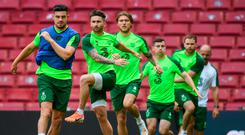Sean Maguire, second from left, during an Ireland training session at Telia Parken in Copenhagen, Denmark. Photo: Stephen McCarthy/Sportsfile