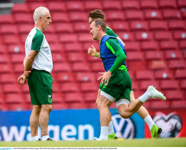 Ireland manager Mick McCarthy during a training session at Telia Parken in Copenhagen