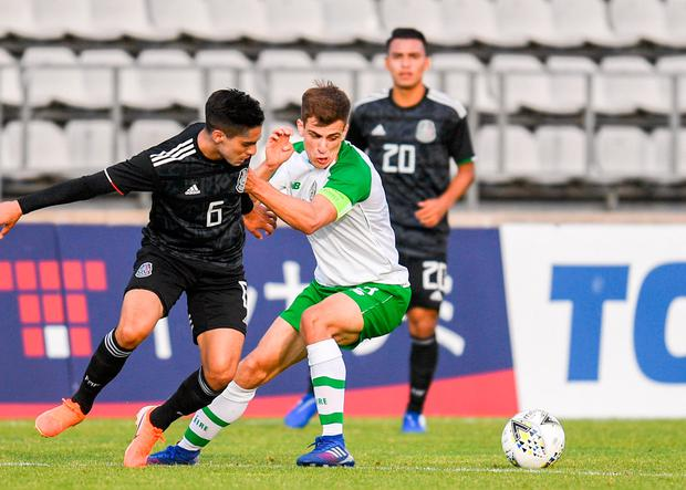 Ireland's Jayson Molumby in action against Erick Germain Aguirre of Mexico during the Toulon Tournament in Fos-sur-Mer, France. Photo: Alexandre Dimou/Sportsfile