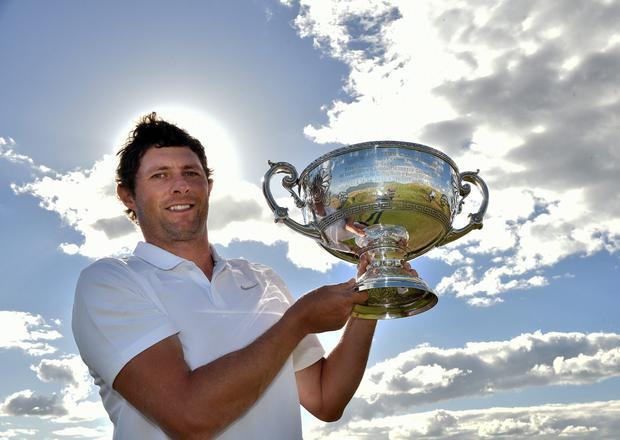 Dual star: Laois fitness coach Robbie Cannon with his silverware after winning the AIG Irish Amateur Close Championship in 2018. Photo: Pat Cashman