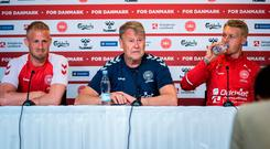 Denmark's coach Age Hareide (C) addresses a press conference with goalkeeper Kasper Schmeichel (L) and Simon Kjaer on the eve of the UEFA Euro 2020 qualifier Group D football match between Denmark and the Republic of Ireland in Copenhagen. Photo: AFP/Getty Images