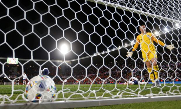 England goalkeeper Jordan Pickford reacts after conceding an own goal scored by Kyle Walker. Photo: Action Images via Reuters/Carl Recine