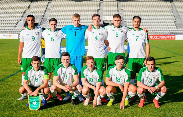 The Republic of Ireland U-21's pictured before their match against Mexico at the Parsemain in Fos-sur-Mer, France. Photo: Alexandre Dimou/Sportsfile