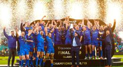 Celebrating: The Leinster team with the cup after the Guinness PRO14 final against Glasgow Warriors. Photo: Ramsey Cardy/Sportsfile
