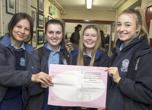 All smiles: Patricia Moscu, Ava Cashell, Charlotte Greene and Mia Thorpe after their English exams at Malahide College. Photo: COLIN O'RIORDAN