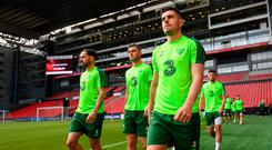 John Egan during a Republic of Ireland training session at Telia Parken in Copenhagen, Denmark. Photo by Stephen McCarthy/Sportsfile
