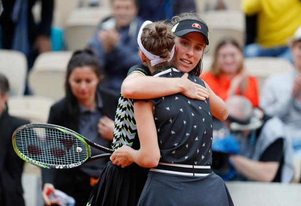Johanna Konta congratulates Marketa Vondrousova of the Czech Republic after their semi-final match. REUTERS/Vincent Kessler