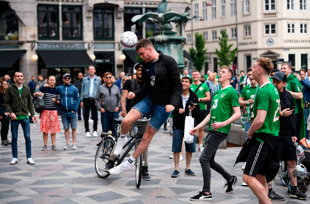 7 June 2019; Republic of Ireland supporters in Copenhagen prior to the UEFA EURO2020 Qualifier Group D match between Denmark and Republic of Ireland at Telia Parken in Copenhagen, Denmark. Photo by Stephen McCarthy/Sportsfile