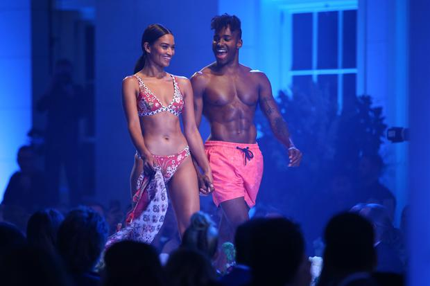 Shanina Shaik and DJ Ruckus during the David Jones Spring Summer 2017 Collections Launch at David Jones Elizabeth Street Store on August 9, 2017 in Sydney, Australia. (Photo by Mark Metcalfe/Getty Images for David Jones)