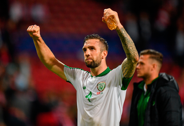 Ireland goalscorer Shane Duffy salutes the fans following the Euro 2020 Group D draw with Denmark in Copenhagen. Photo: Seb Daly/Sportsfile