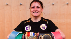 Katie Taylor pictured with her five belts. Photo: Stephen McCarthy/Sportsfile
