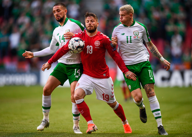 Ireland's Conor Hourihane, left, and James McClean in action against Lasse Schöne of Denmark during the Euro 2020 Group D clash in Copenhagen. Photo: Stephen McCarthy/Sportsfile