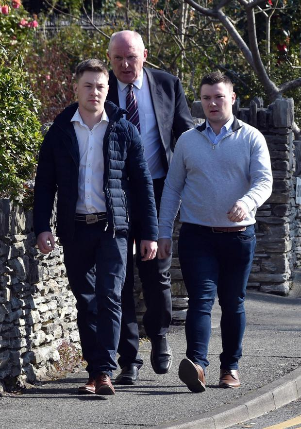 Accused: Jackie Healy-Rae, right, and his brother Kevin arrive with their solicitor Padraig O'Connell at Kenmare Court in Co Kerry at an earlier hearing. Photo: Don MacMonagle