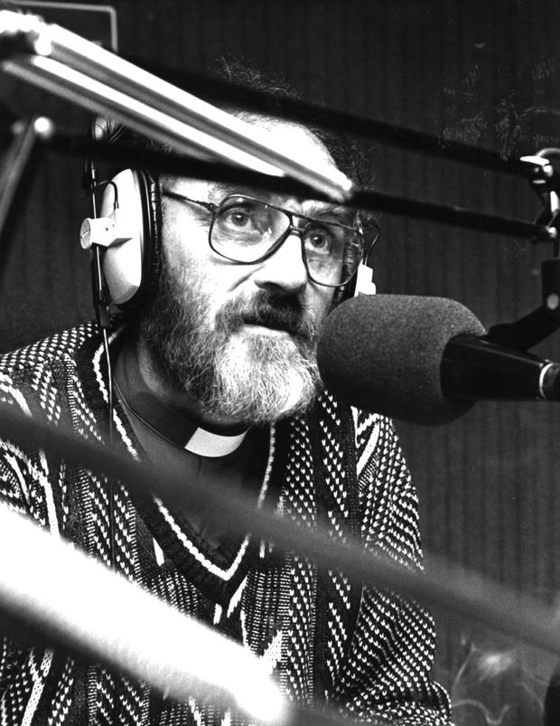 Fr Michael Cleary presenting his radio show