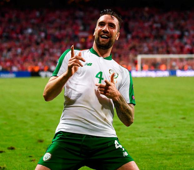 Shane Duffy celebrates after scoring an 85th minute equaliser to earn a 1-1 draw for Ireland against Denmark in Copenhagen. Photo: Stephen McCarthy/Sportsfile