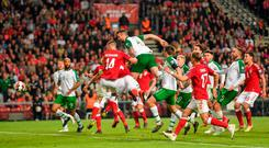 Shane Duffy of Republic of Ireland heads to score his side's first goal during the UEFA EURO2020 Qualifier Group D match between Denmark and Republic of Ireland at Telia Parken in Copenhagen, Denmark. Photo by Seb Daly/Sportsfile
