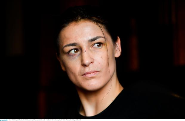 Undisputed World Lightweight Champion Katie Taylor speaks to the media at the County Club in Dunshaughlin, Co Meath. Photo by David Fitzgerald/Sportsfile
