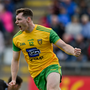 Jamie Brennan of Donegal celebrates after scoring his side's first goal during the Ulster GAA Football Senior Championship semi-final match between Donegal and Tyrone at Kingspan Breffni Park in Cavan. Photo by Daire Brennan/Sportsfile