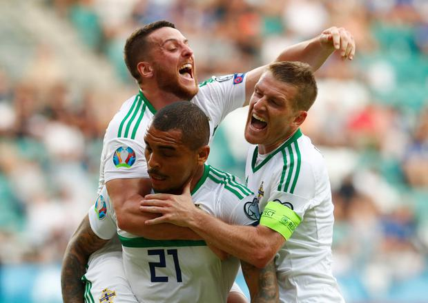 Soccer Football - Euro 2020 Qualifier - Group C - Estonia v Northern Ireland - A. Le Coq Arena, Tallinn, Estonia - June 8, 2019 Northern Ireland's Josh Magennis celebrates scoring their second goal with team mates REUTERS/Ints Kalnins