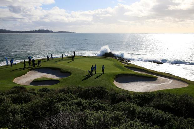 Though the terrain is parkland by the sea, Pebble's challenge is not unlike classic links in its vulnerability to winds off the Pacific. Photo: Chris Trotman/Getty Images