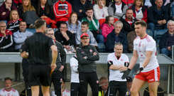 Tyrone manager Mickey Harte argues with referee David Gough during the Ulster GAA Football Senior Championship semi-final match between Donegal and Tyrone at Kingspan Breffni Park in Cavan. Photo by Daire Brennan/Sportsfile