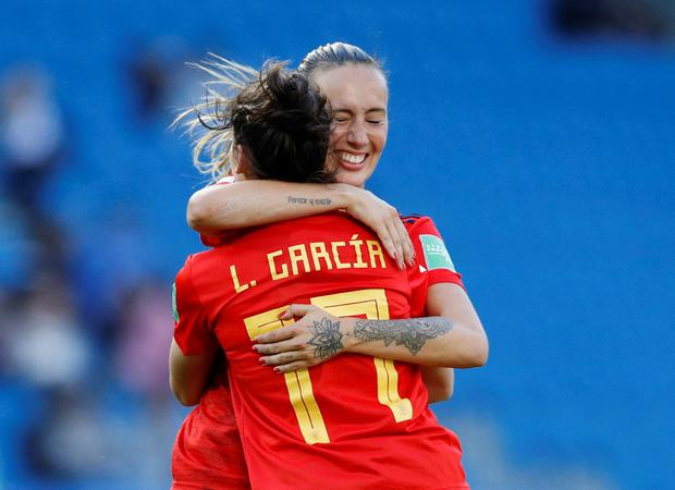 Soccer Football - Women's World Cup - Group B - Spain v South Africa - Stade Oceane, Le Havre, France - June 8, 2019 Spain's Lucia Garcia celebrates scoring their third goal with Virginia Torrecilla REUTERS/Phil Noble