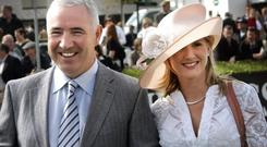 GILDED LIFE: Sean Dunne and Gayle Killilea enjoying the racing at Punchestown in 2006 when the Celtic Tiger was still roaring. Photo: Steve Humphreys