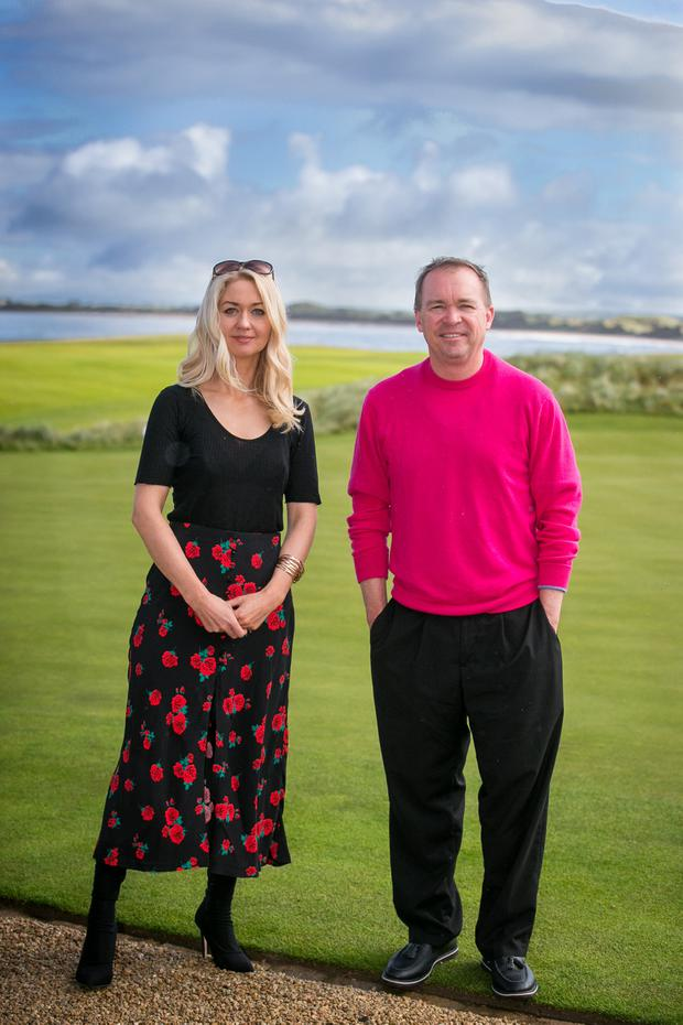 GREEN FOR GO: President Trump's chief of staff, Mick Mulvaney, with journalist Niamh Horan. Photo: Mark Condren