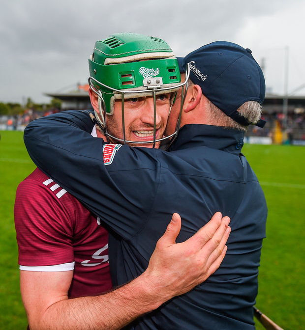 Galway manager Mícheál Donoghue celebrates with captain David Burke after the Leinster GAA Hurling Senior Championship Round 4 match between Kilkenny and Galway. Photo by Daire Brennan/Sportsfile