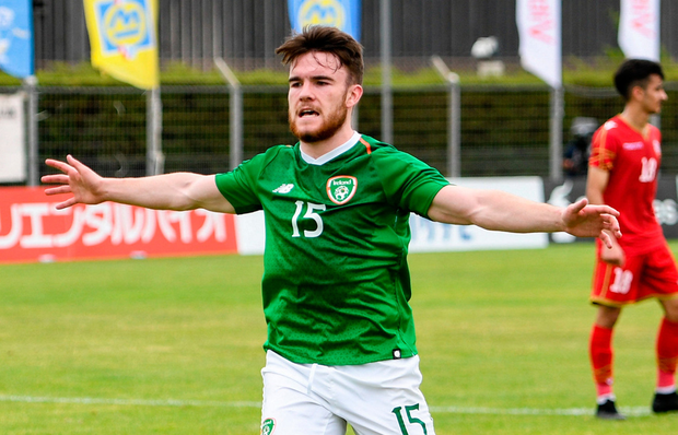Aaron Connolly of Republic of Ireland celebrates after his side's first goal during the 2019 Toulon Tournament match between Bahrain and Republic of Ireland at Stade Jules Ladoumègue in Vitrolles, France. Photo by Alexandre Dimou/Sportsfile