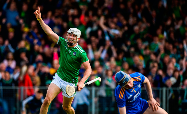 Aaron Gillane of Limerick celebrates after scoring his side's first goal during the Munster GAA Hurling Senior Championship Round 4 match against Clare at the LIT Gaelic Grounds. Photo by Diarmuid Greene/Sportsfile