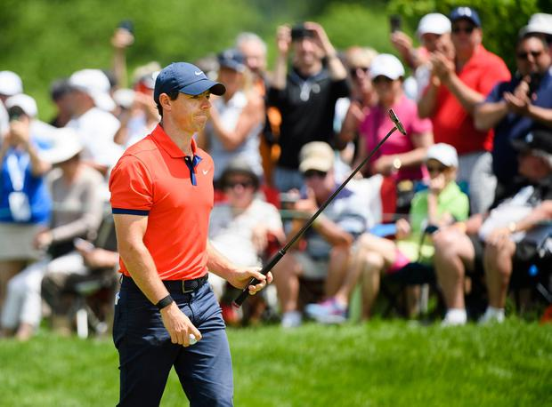 Rory McIlroy reacts after making a birdie on the first hole during the final round of the 2019 Canadian Open golf championship in Ancaster, Ontario. (Nathan Denette/The Canadian Press via AP)