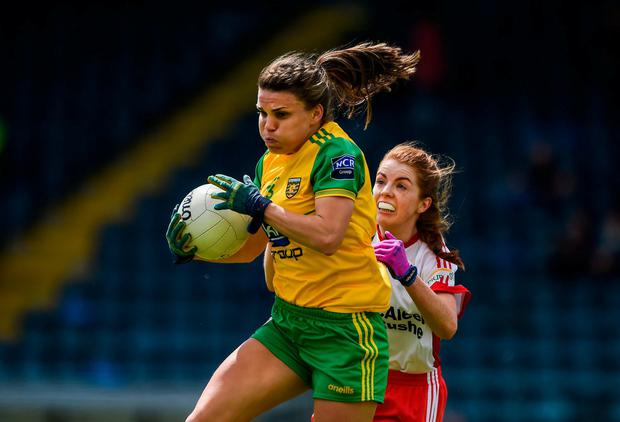 Niamh Hegarty of Donegal in action against Niamh McGirr of Tyrone. Photo: Daire Brennan/Sportsfile