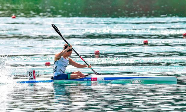Jenny Egan, in action at the 200m canoe sprint semi-finals at the 2015 European Games, will aim to do better in Minsk. Photo: Stephen McCarthy / Sportsfile