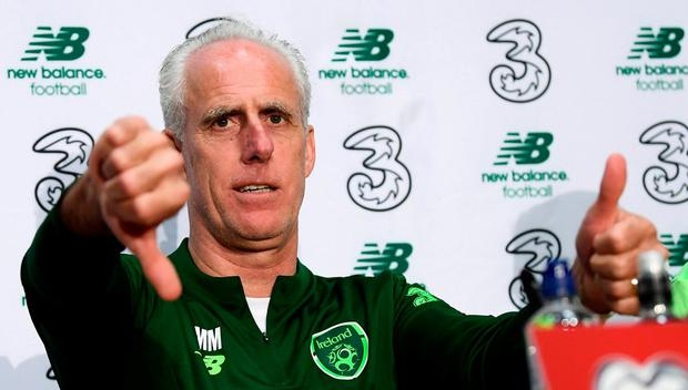 Republic of Ireland manager Mick McCarthy during a press conference. Photo: Stephen McCarthy/Sportsfile