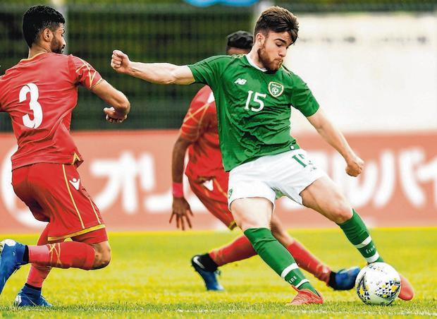 Ireland's Aaron Connolly in action against Jasim Alsalama of Bahrain the Toulon Tournament in Vitrolles, France. Photo: Alexandre Dimou/Sportsfile