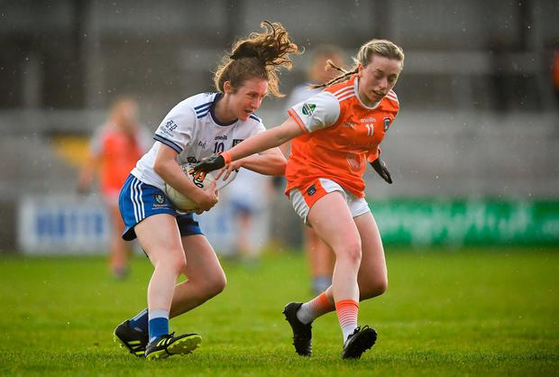 Rosemary Courtney of Monaghan in action against Aoife McCoy of Armagh. Photo: David Fitzgerald/Sportsfile