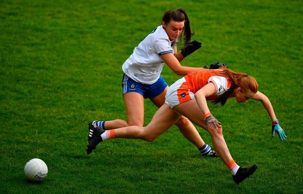 Sarah Boyd of Monaghan in action against Blaithin Mackin of Armagh. Photo: David Fitzgerald/Sportsfile